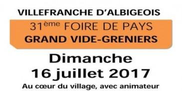 Dimanche 16 juillet - 31ème FOIRE DE PAYS - GRAND VIDE-GRENIERS