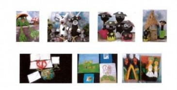 Exposition d'aquarelles, photos, mosaïques, peintures sur soie et objets divers