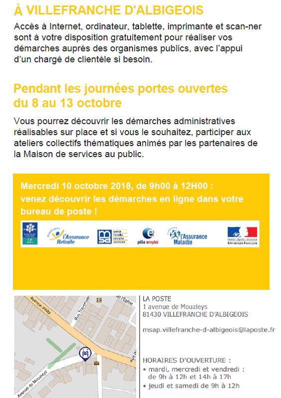 Portes ouvertes à la Maison des Services Au Public (MSAP) de Villefranche du 8 au 13 octobre 2018