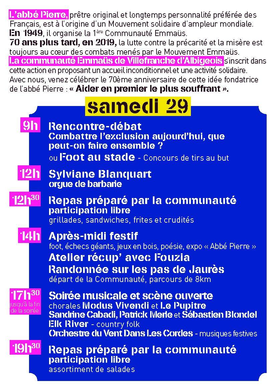 29 ET 30 JUIN 2019 : 70ème anniversaire de la Communauté Emmaüs de Villefranche d'Albigeois.