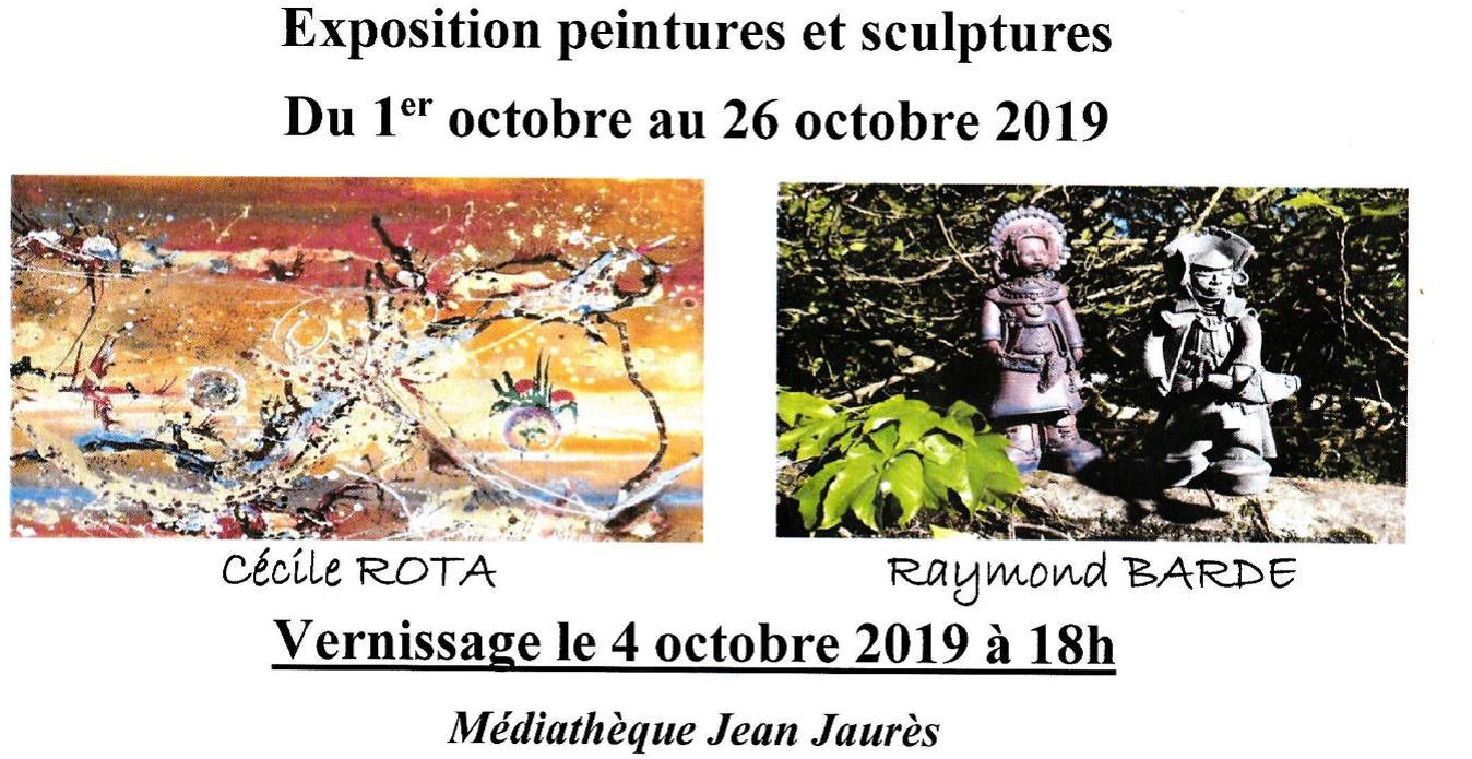 VILLEFRANCHE D'ALBIGEOIS/MÉDIATHÈQUE JEAN JAURES EXPOSITION DE CÉCILE ROTA ET RAYMOND BARDE