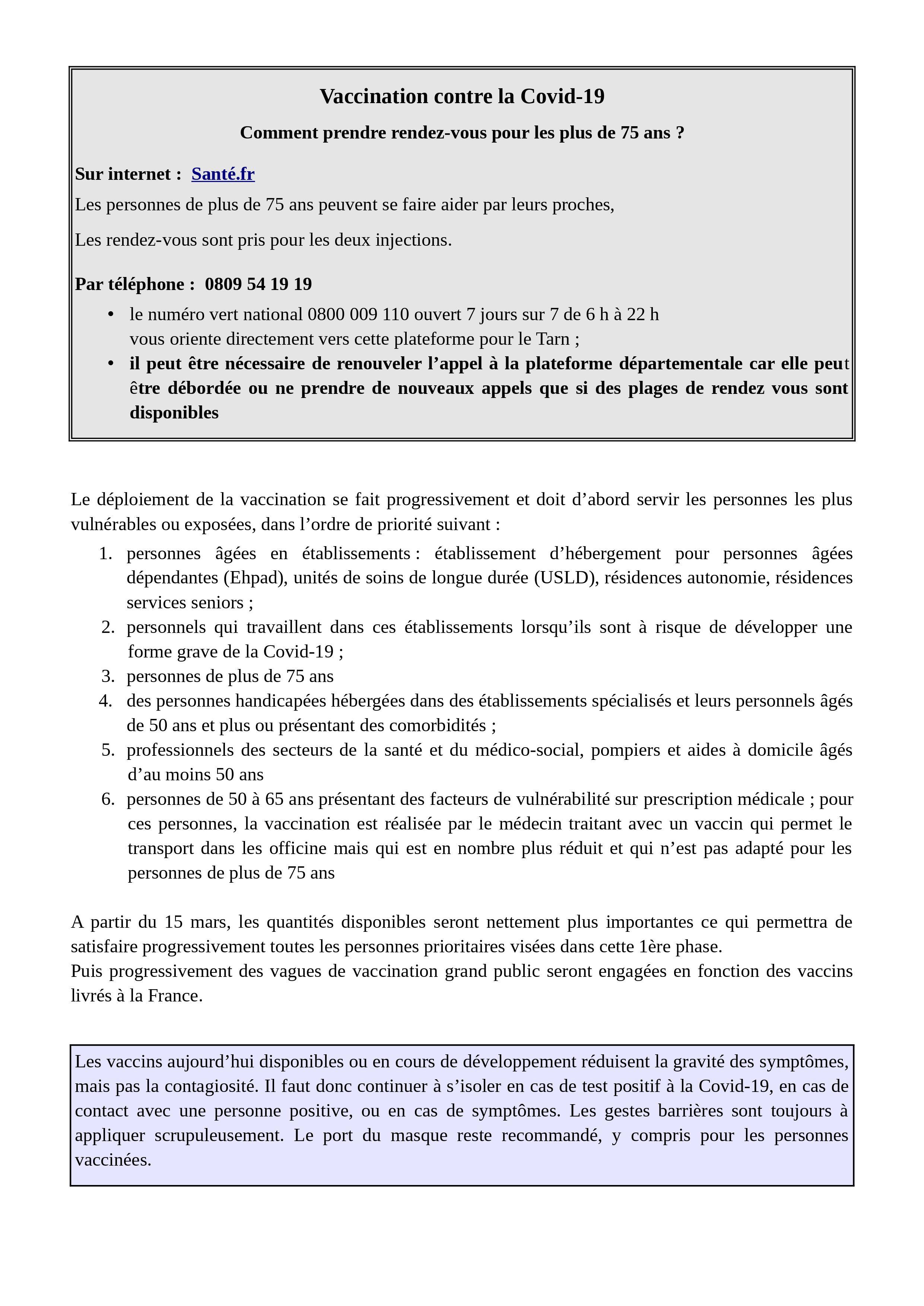 Vaccination contre la Covid-19