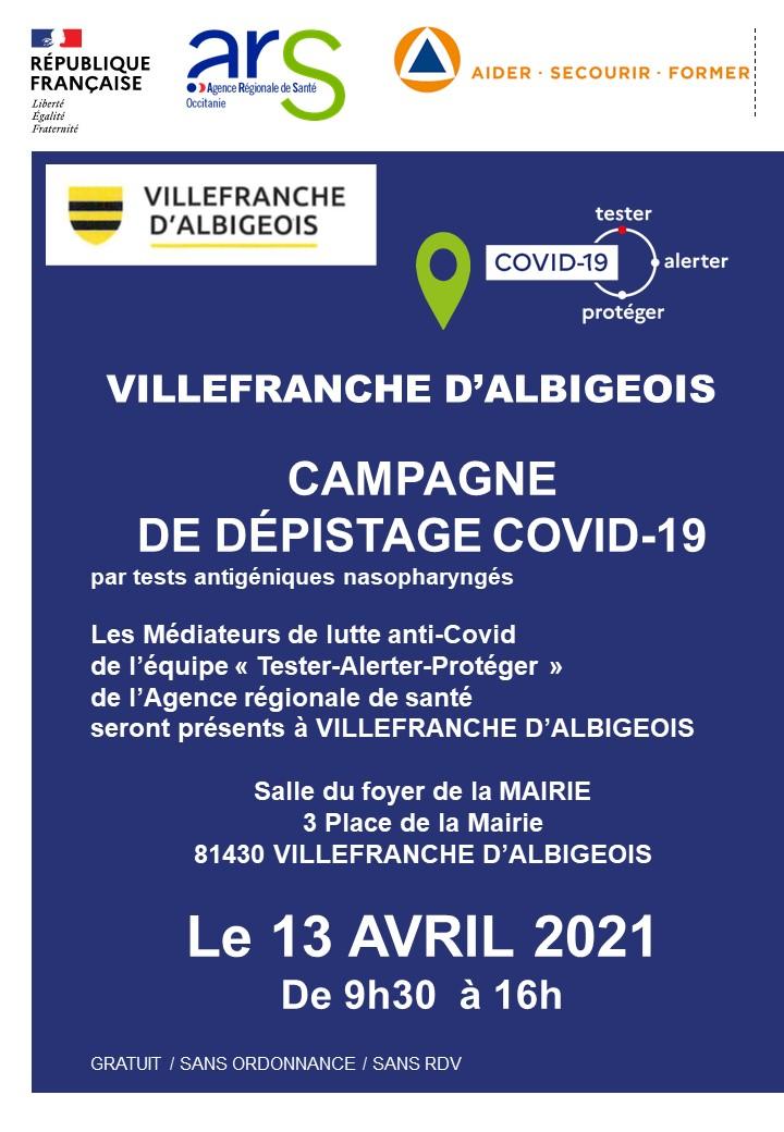 CAMPAGNE DE DÉPISTAGE COVID-19