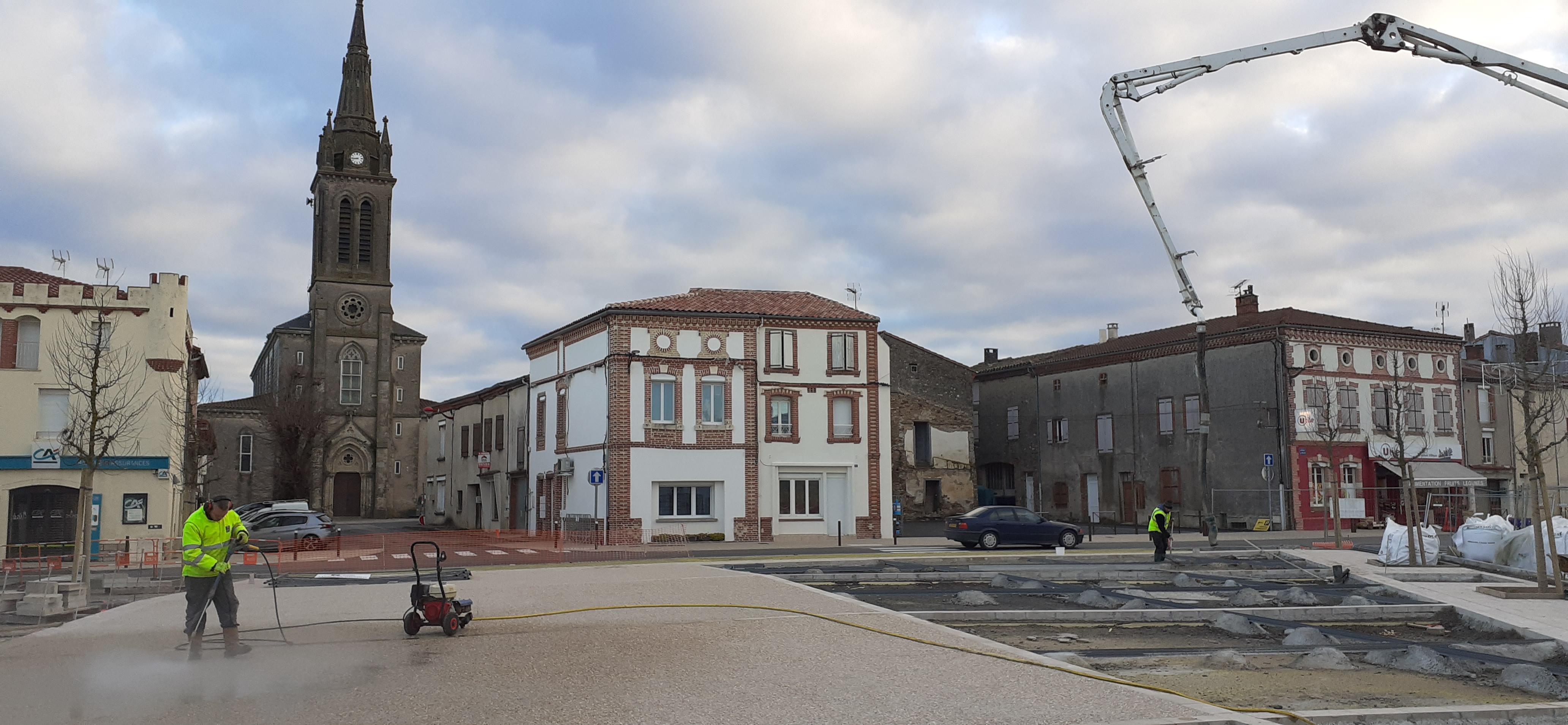 Chantier aménagement place Bascule 5 février 2020 2